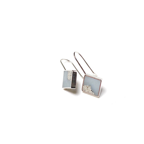 Panic Earrings in pale blue with cement