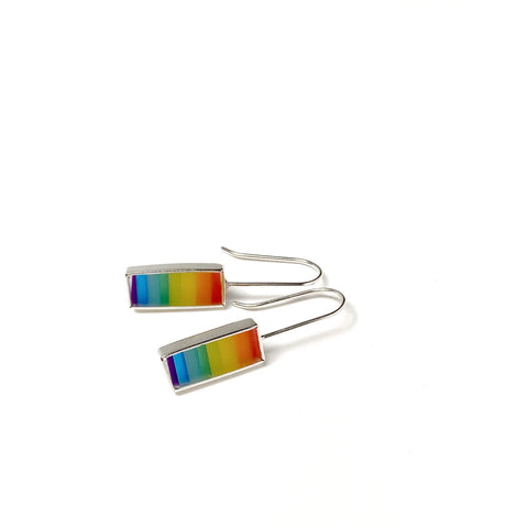 Barred earrings rainbow stripes