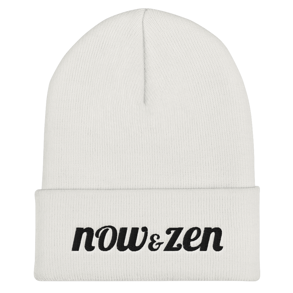 Embroidered Now & Zen  Cuffed Beanie White/Black