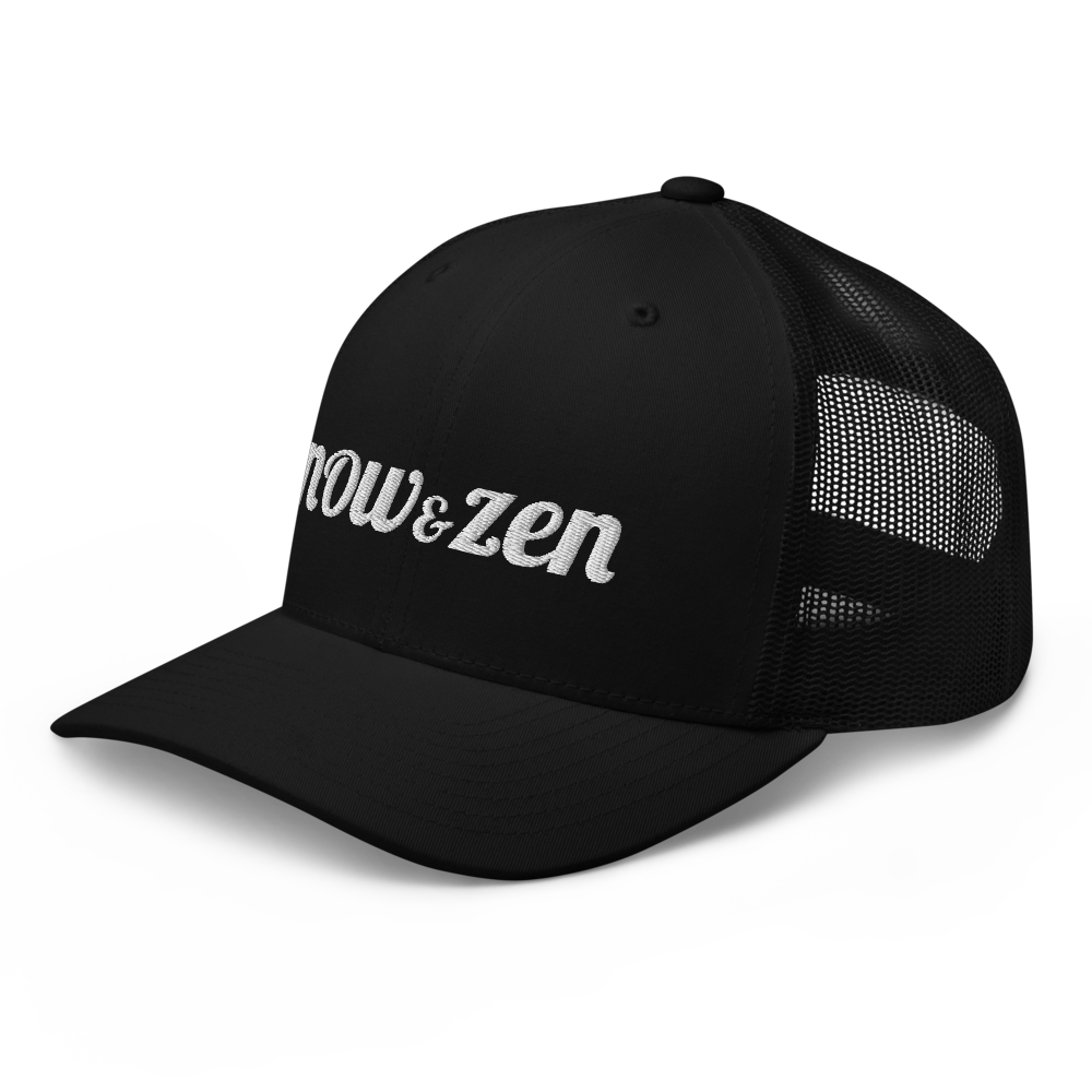 Embroidered Now & Zen Retro Trucker Cap Snapback-Black/White