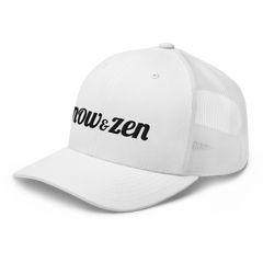 Embroidered Now & Zen Retro Trucker Cap Snapback-White/Black