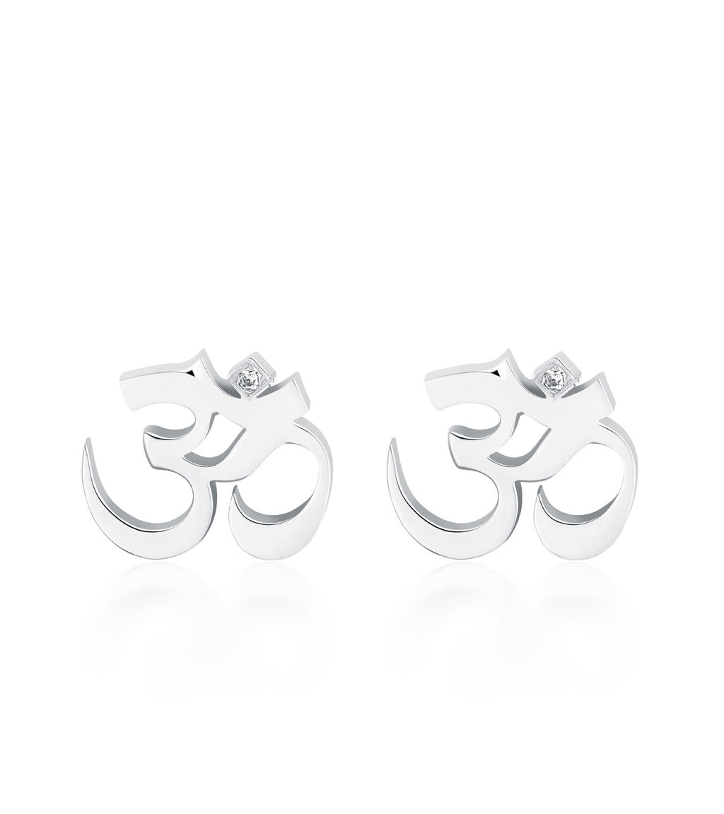 Petite Om Earrings Single Diamond Silver