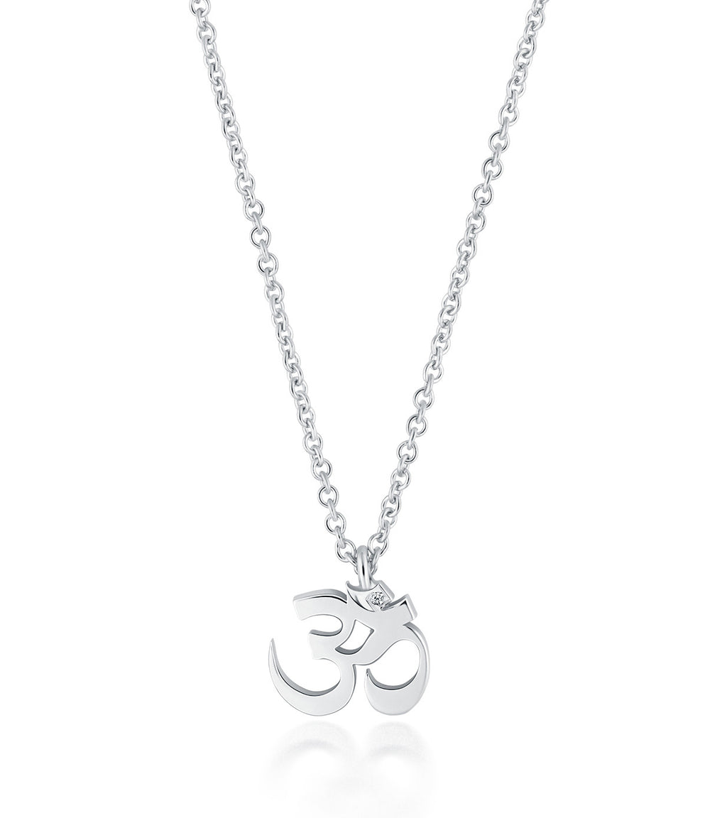 Petite Om Necklace Single Diamond Silver