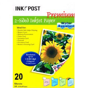InkPost Double Sided  210gsm A4 20pk Photo Paper