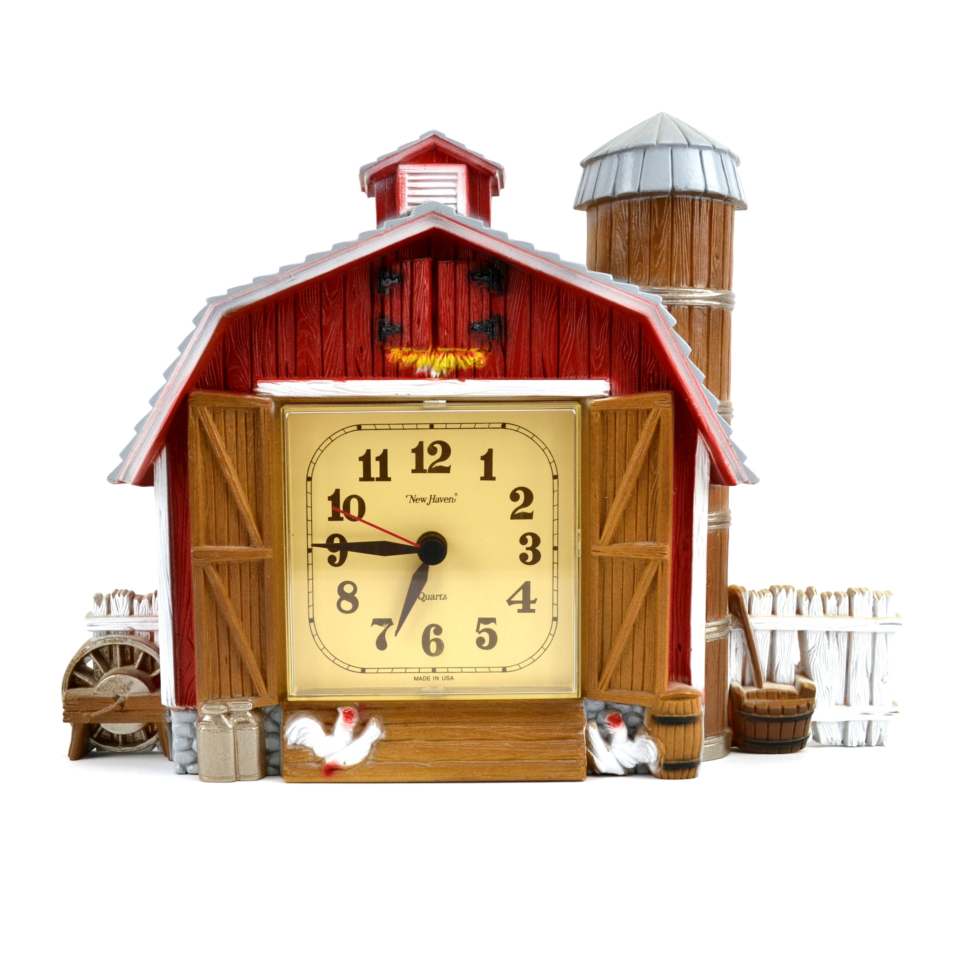 Vintage Farmhouse Kitchen Battery Operated Barn Clock 1970s New Haven Burwood Products