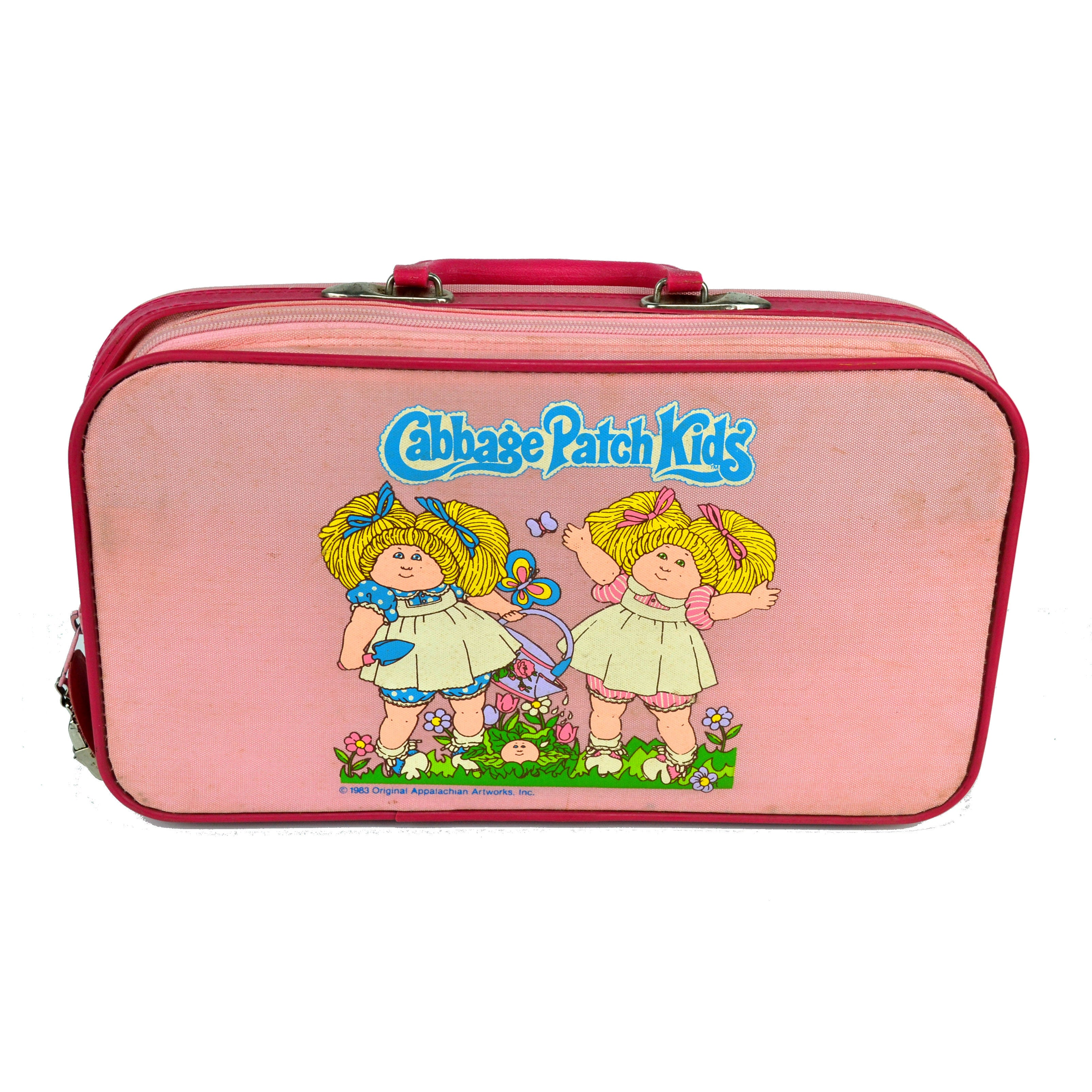 graphic relating to Cabbage Patch Logo Printable known as Common 1983 Cabbage Patch Young children Red Suitcase Bags Sleepover Right away Bag
