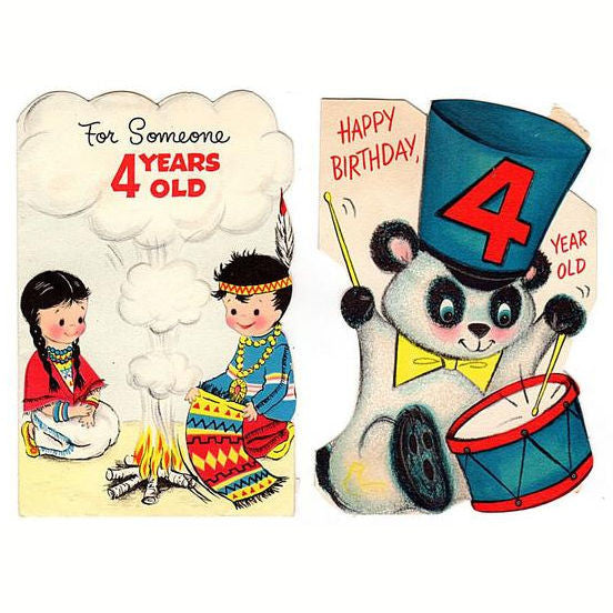 Vintage 4th Birthday Cards Four Year Old Lot Of 2 Indians Panda Bear Boy And Girl
