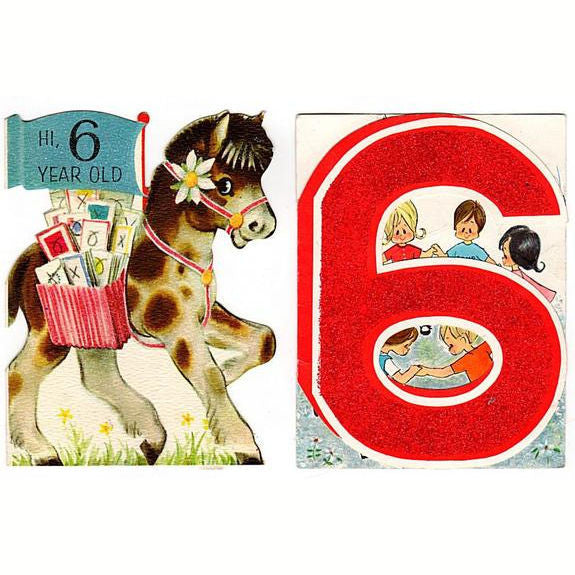 Avid vintage vintage collectibles vintage 6th birthday cards lot of 2 six year old glittered kids cards pony hallmark card bookmarktalkfo Images