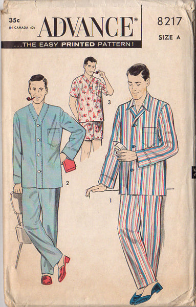 Vintage 1950s Advance Sewing Pattern 8217 Men s Pajamas Chest 34-36  Sleepwear - Avid Vintage 81158baae