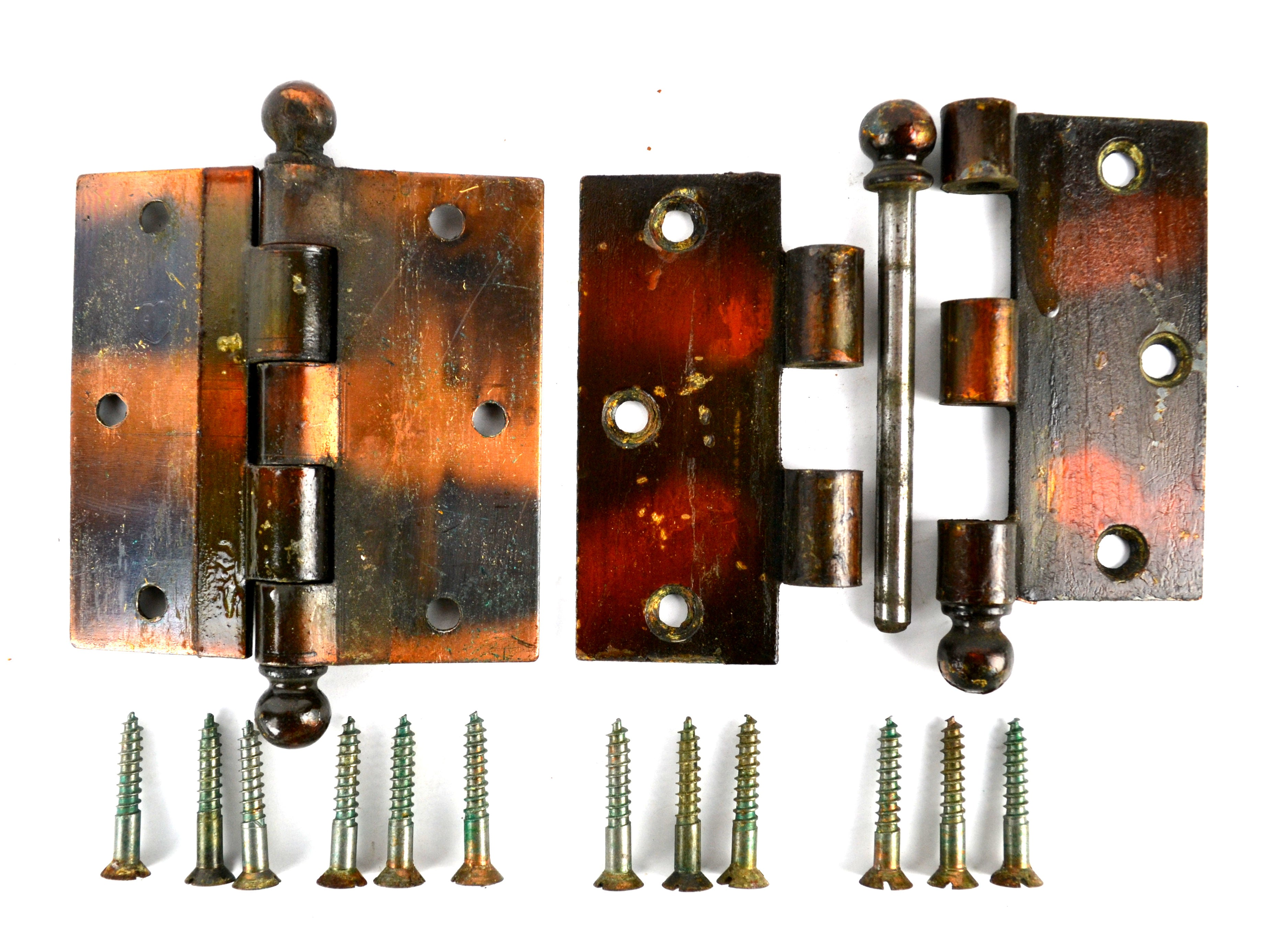 Merveilleux ... Antique Door Hinges 3 1/2 Inch Japanned Copper Flash Cannonball Stanley  Sweetheart Set Of
