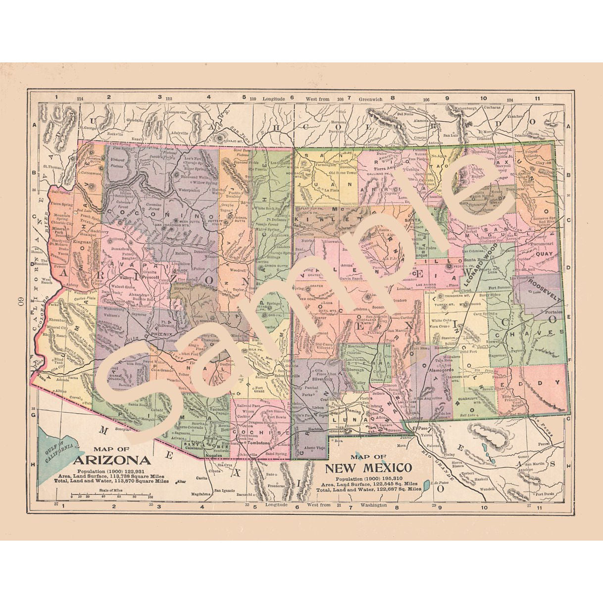 Antique 1900 Printable Color Map of Arizona New Mexico Instant Download