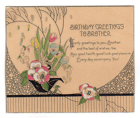 Vintage 1920s Art Deco Birthday Greeting Card Pink To Brother Floral Spray