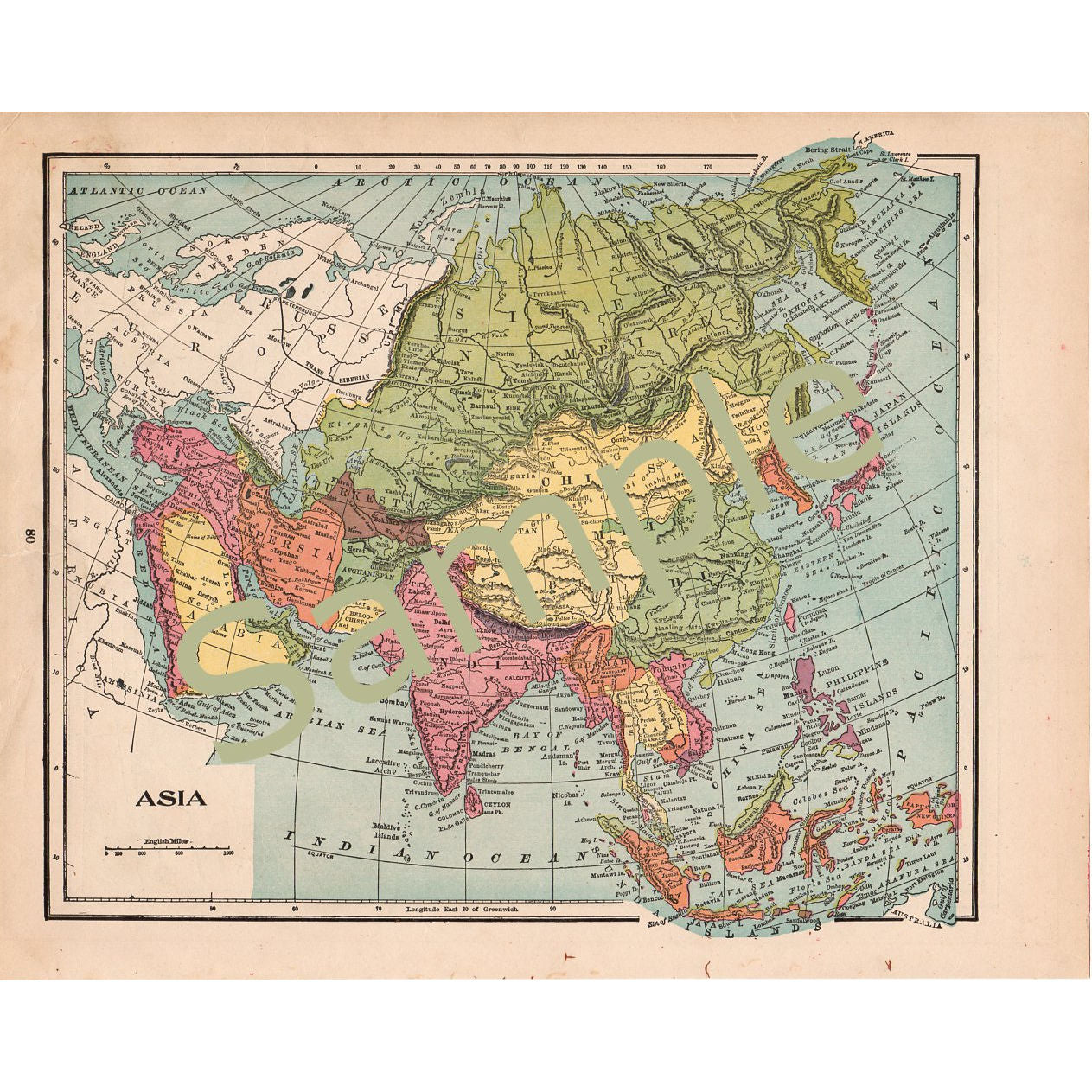 Map Of Asia 1900.Printable Antique Color Map Of Asia Instant Digital Download 1900 Illustration