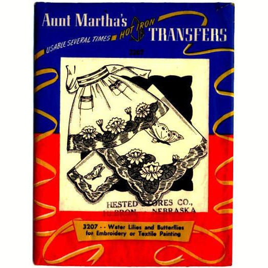 Vintage 1950s Aunt Martha's Hot Iron Transfer Pattern 3207 Water Lilies and  Butterfly