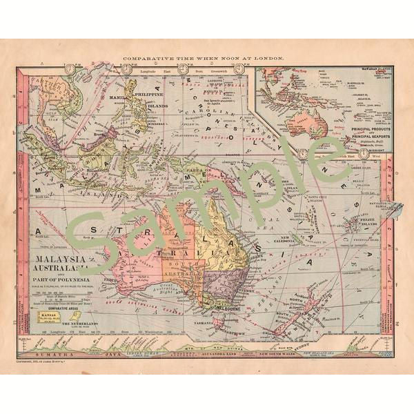 picture about Printable Map of New Zealand identify Printable 1880s Antique Colour Map of Australia Malaysia and Clean Zealand Fast Electronic Down load