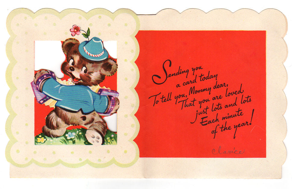 Avid vintage vintage collectibles bear with accordion vintage 1950s wishing well mothers day card used avid vintage m4hsunfo