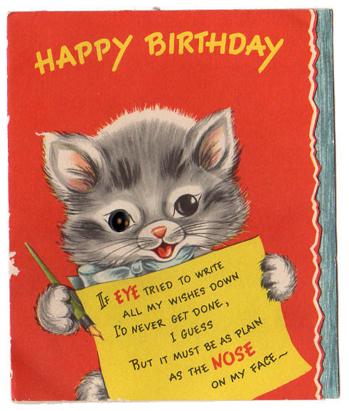Button Eye Gray Kitten Vintage Forget Me Not Childrens Birthday Card