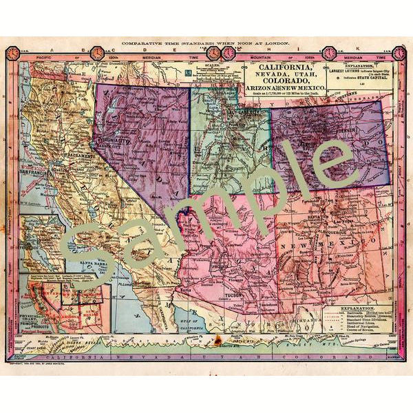 photograph relating to Printable Map of Colorado named Antique Printable 1885 Coloration Map of California Nevada Utah Colorado and Arizona Fast Electronic Obtain