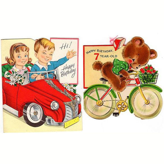 Vintage 1950s Seven Year Old Birthday Cards Lot Of 2 Red Car Glittered Bear