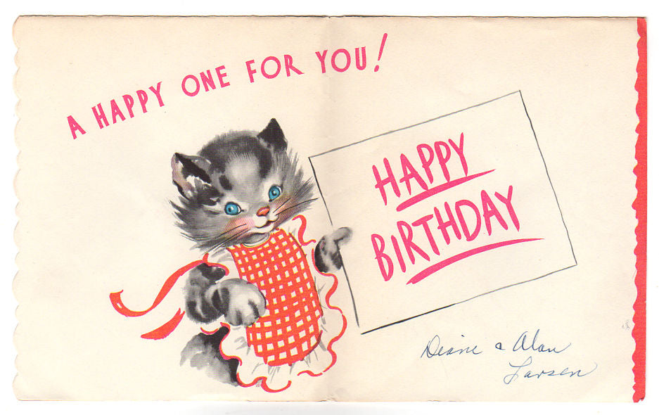 Cat Sweeping Real Feather Broom Vintage 1950s American Greetings Birthday Card