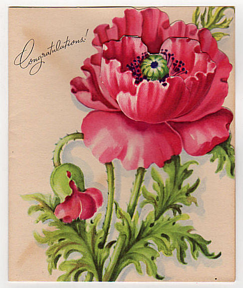 Unused Bright pink Vintage Little Girl in Big Flower Hat Congratulations Greeting Card