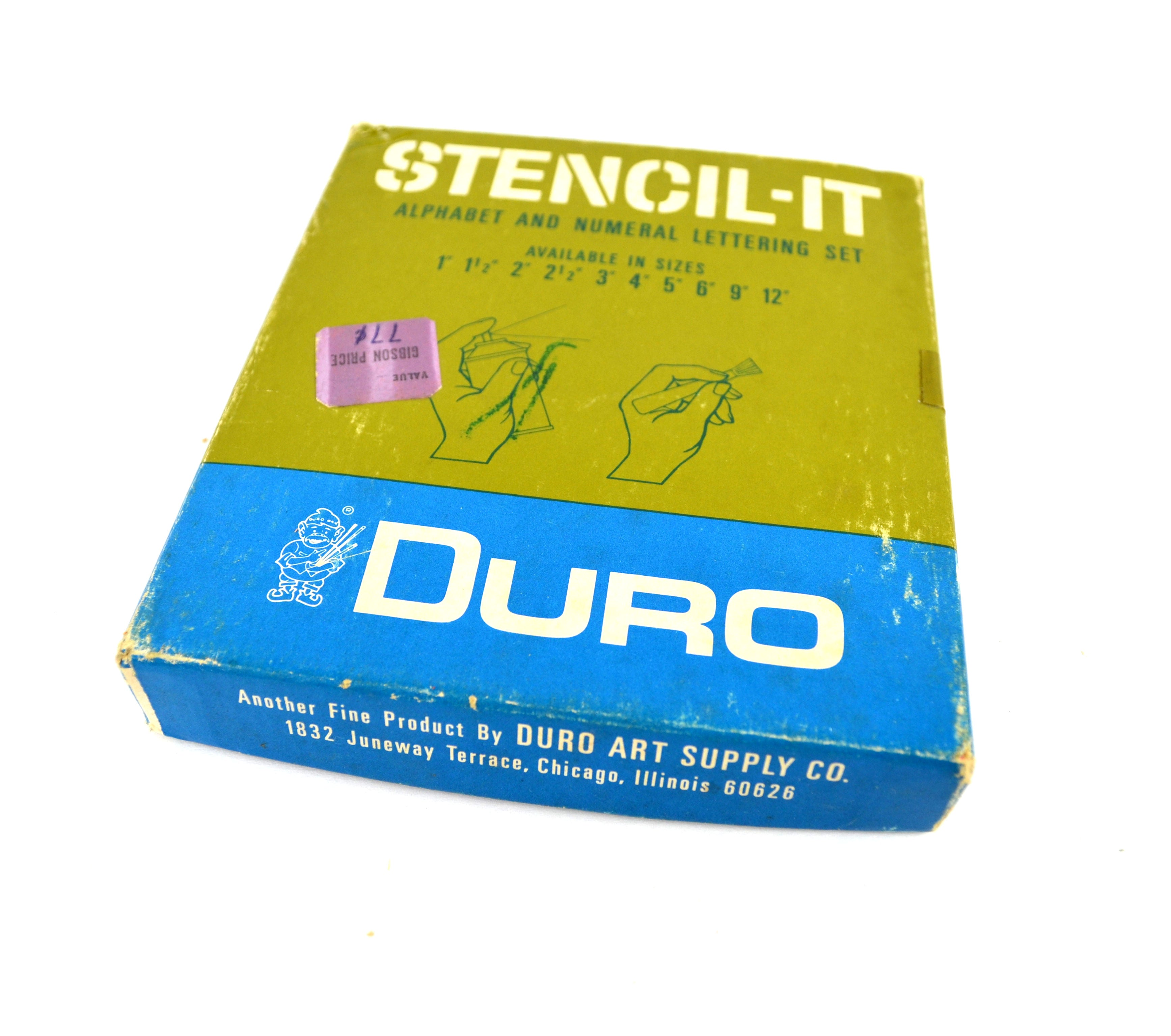 Duro Stencils Vintage Alphabet Letters and Numbers Boxed Numeral and  Lettering Set Unused