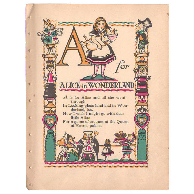 Vintage 1926 Tony Sarg Alphabet Page A For Alice In Wonderland Color Illustration Print