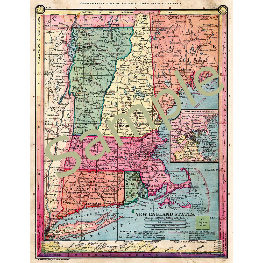 photograph relating to Printable Map of New England called Printable Antique Map of Vermont Fresh new Hampshire Maine Machusetts Connecticut Rhode Island