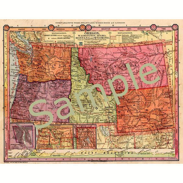 image regarding Printable Map of Oregon referred to as Antique Printable Electronic 1885 Map of Oregon, Washington, Idaho, Montana, and Wyoming