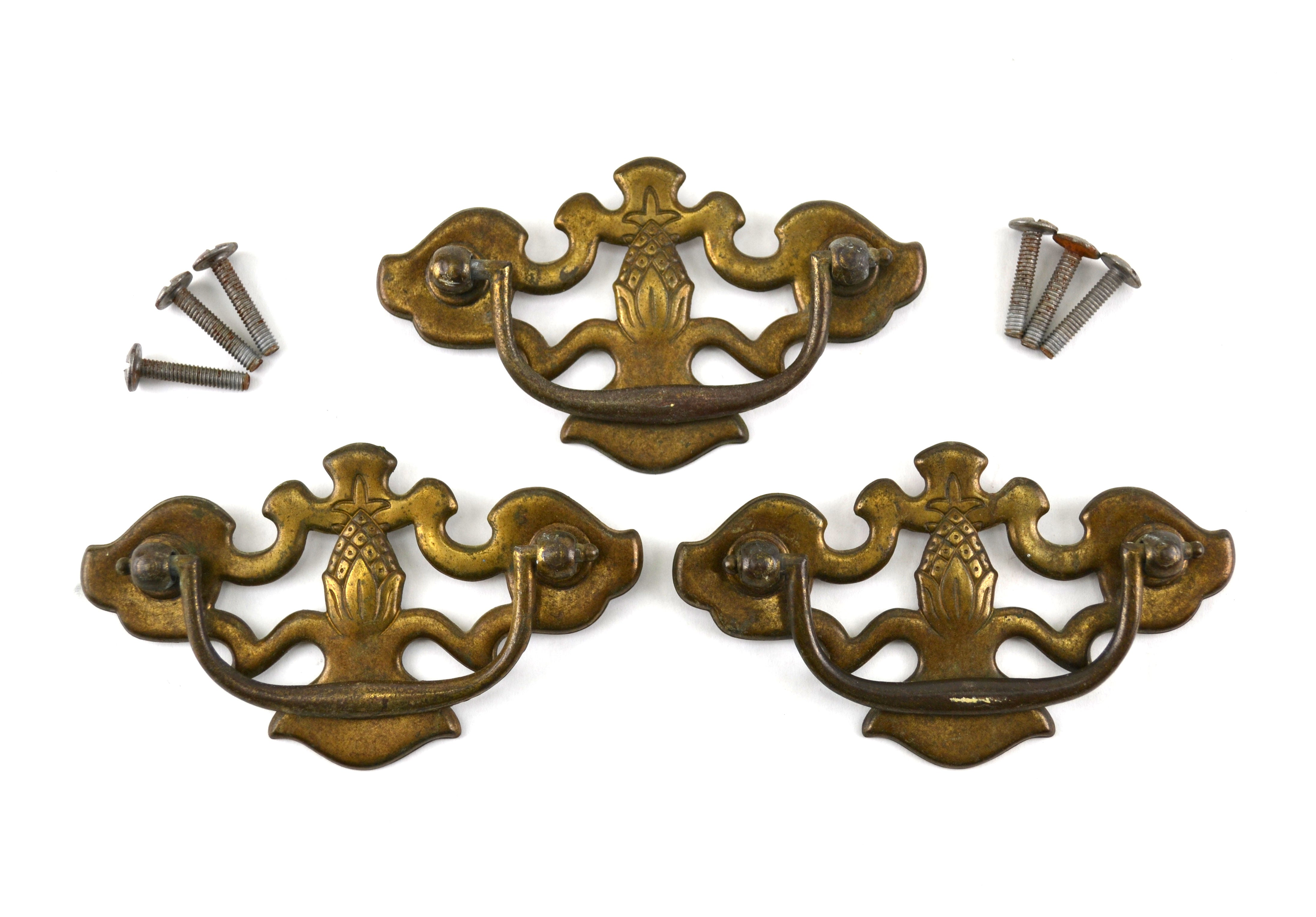 Antique Pineapple Drawer Handle Bail Pulls Set of 3 Brass Toned 3 Inch on  Center
