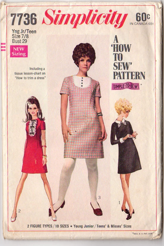 d5baaf91f72 Vintage 1960s Simplicity Sewing Pattern 7736 Teen Dress Detachable Collar  and Cuffs - Avid Vintage ...