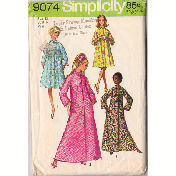 cb34f494caa Vintage 1970 Simplicity Sewing Pattern 9074 Misses  Robe Long or Short Bust  34