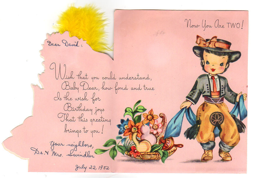 Vintage Two Year Old Birthday Card Spanish Children Girl In Ruffled Dress Used