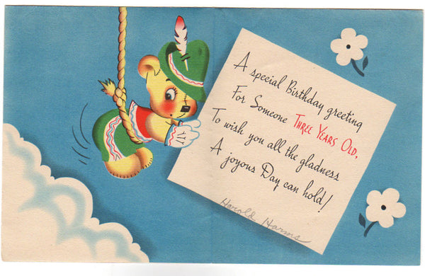 Teddy Bear In Swiss Suit And Hat Vintage 1950s 3 Year Old Birthday Card