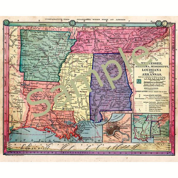 photograph about Printable Map of Alabama identify Antique Printable 1885 Shade Map of Tennessee Mississippi Arkansas Louisiana and Alabama Immediate Obtain