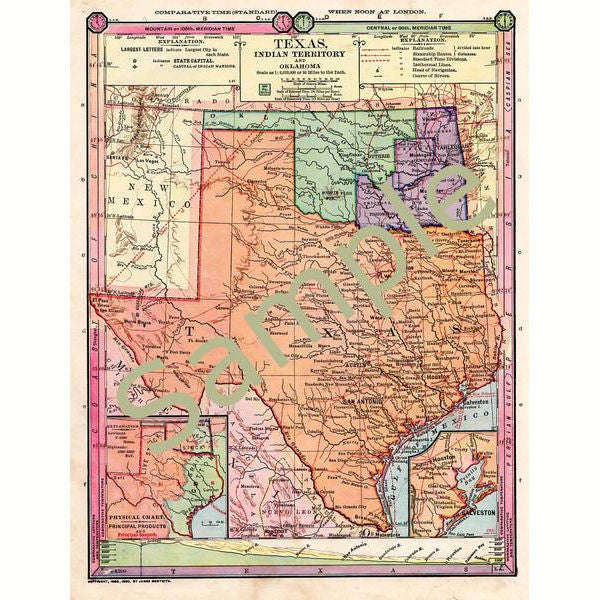 picture relating to Printable Maps of Texas referred to as Antique 1885 Coloration Printable Map of Texas Oklahoma Indian Territory Instantaneous Obtain 1880s Colour Cartography
