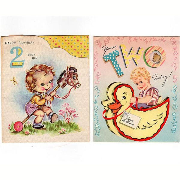 Vintage 1950s Two Year Old Birthday Cards Lot Of 2 Duck Rocking Toy Stick Horse Doubl