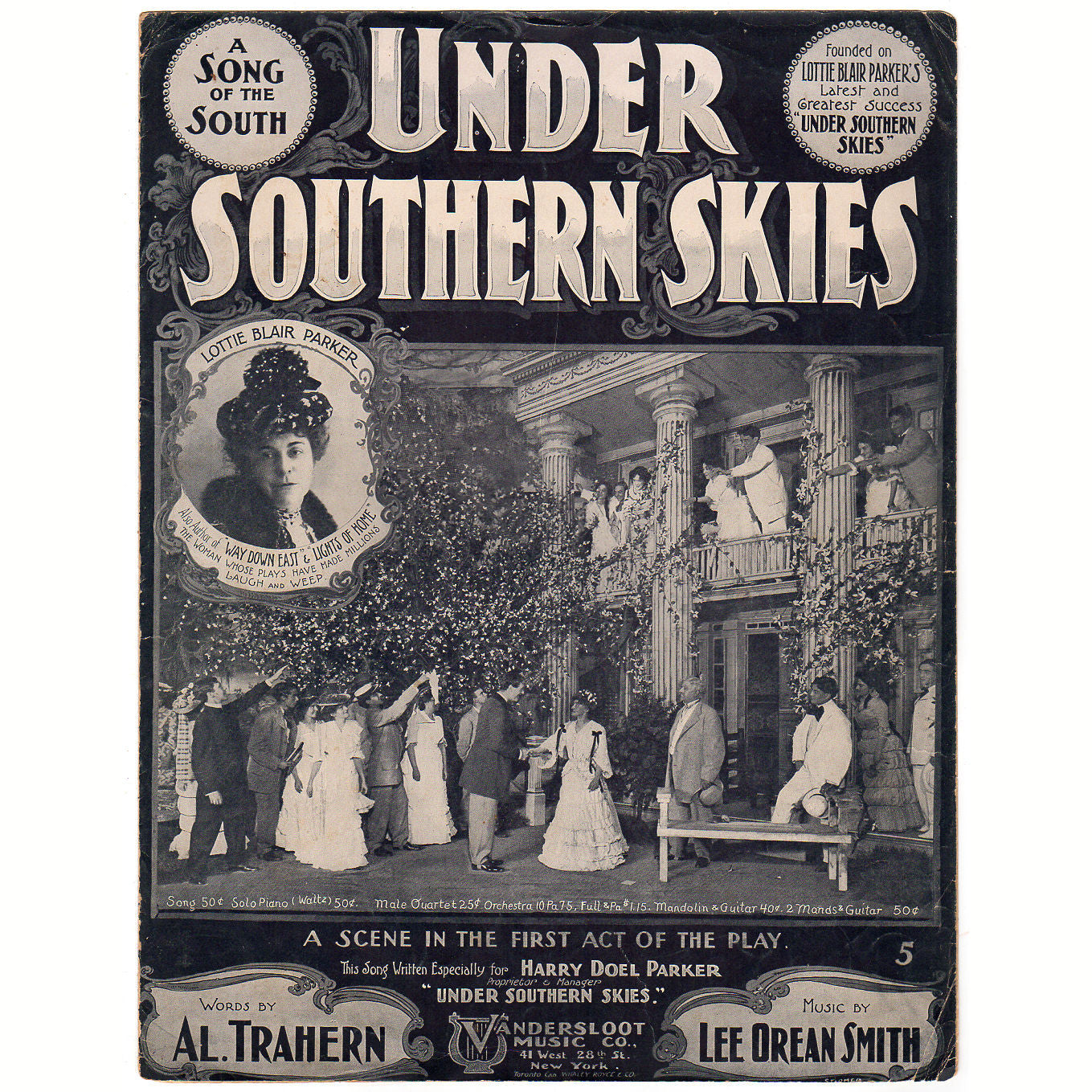 Under Southern Skies A Song of the South Vintage 1900s Sheet Music Lottie  Blair Parker