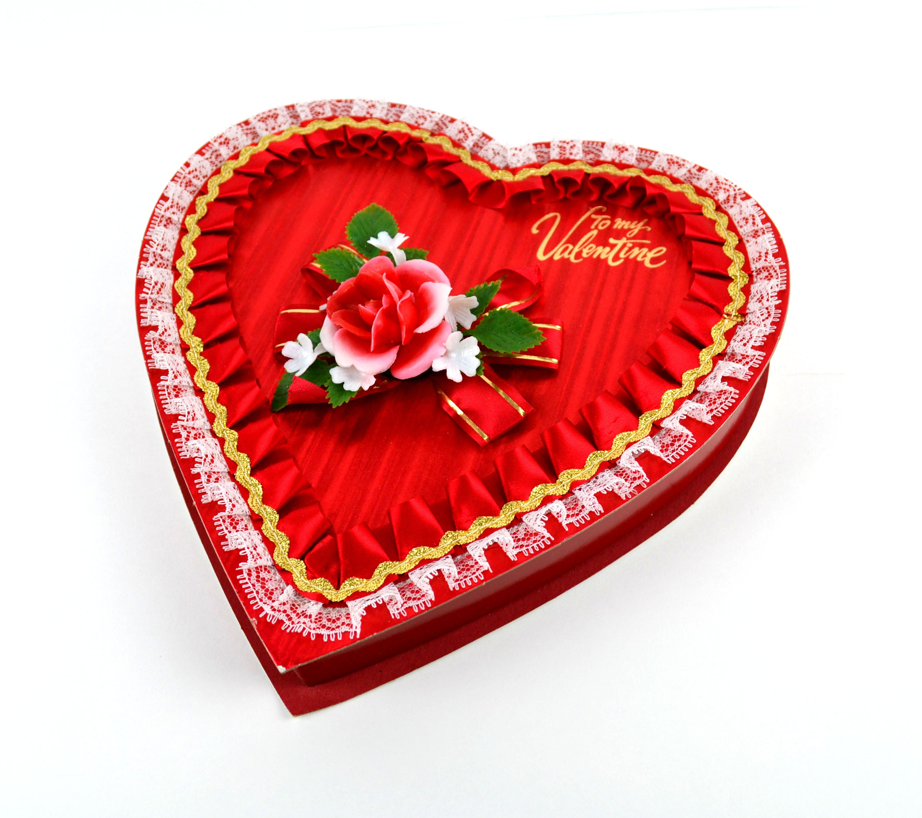 Valentine Candy Box Heart Shaped With Red And White Plastic