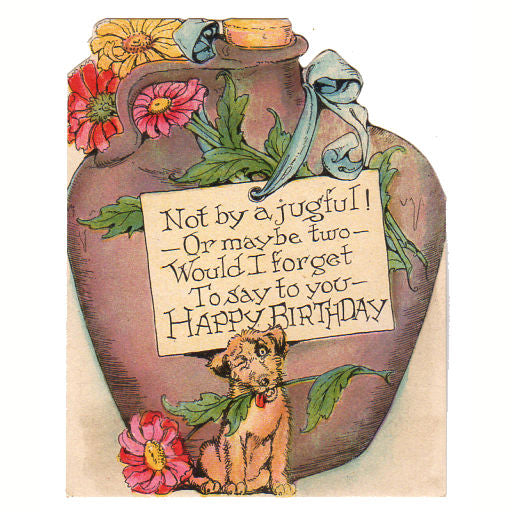 Vintage 1930s birthday greeting card dog large stoneware jug and flowers vintage 1930s birthday greeting card dog large stoneware jug and flowers avid vintage m4hsunfo