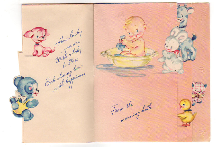 vintage 1940s artistic new baby greeting card elephant bear puppy duck - Baby Greeting Cards