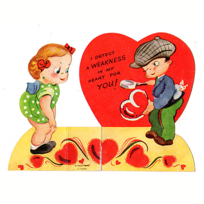 Vintage Valentine\u0027s Day Card 1950s Boy Dectective with Magnifying Glass