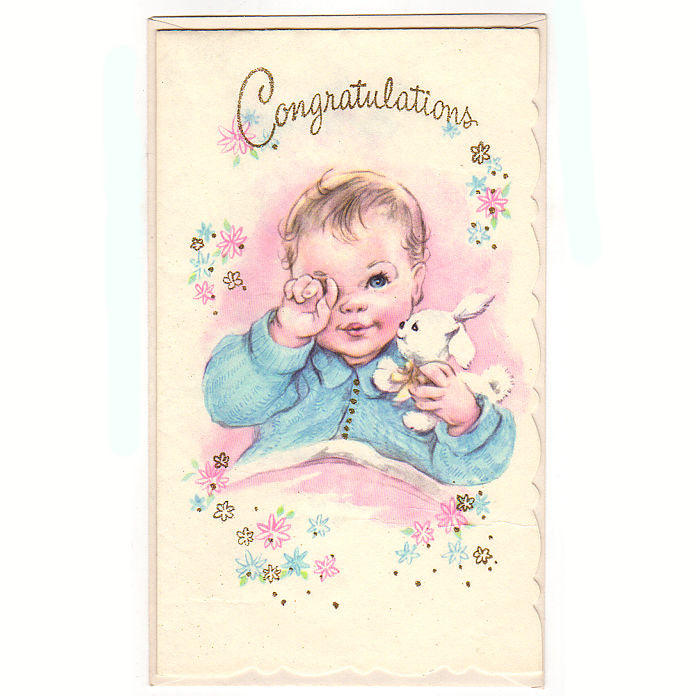 Avid vintage vintage collectibles vintage 1950s congratulations new baby greeting card unused with bunny m4hsunfo