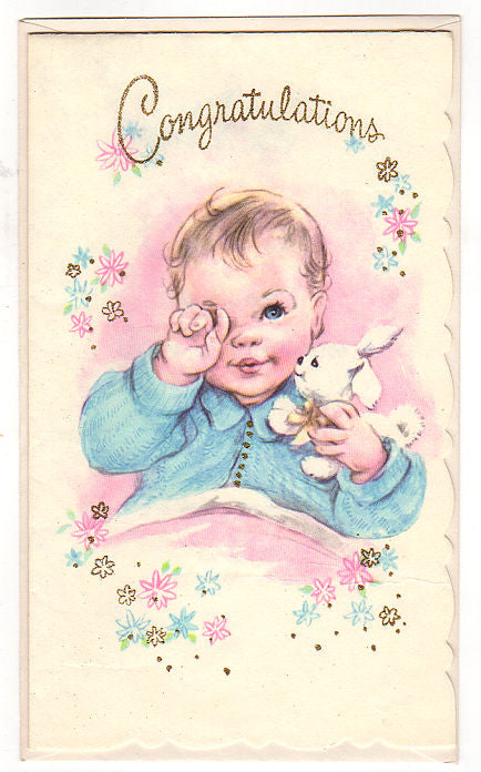 vintage 1950s congratulations new baby greeting card unused with bunny