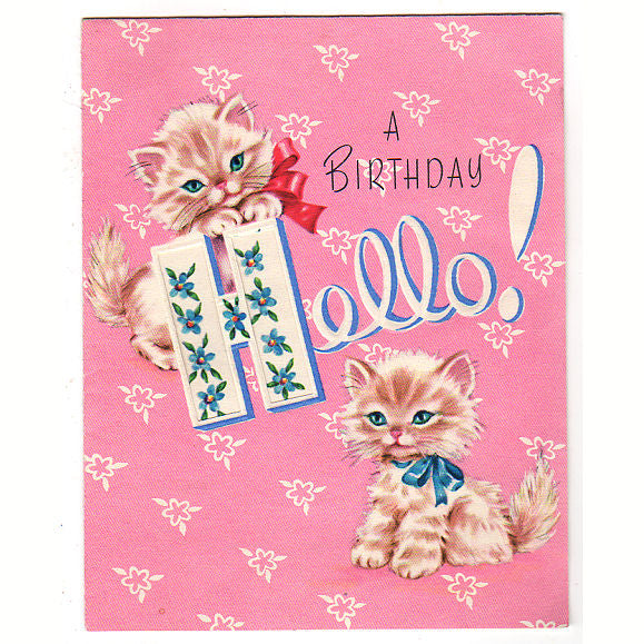 Vintage 1950s Kitten Birthday Card Hello Greeting