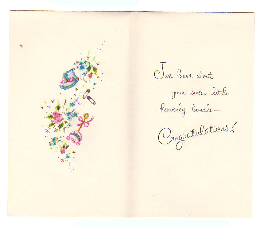 vintage 1950s new baby congratulations card what good news music notes unused