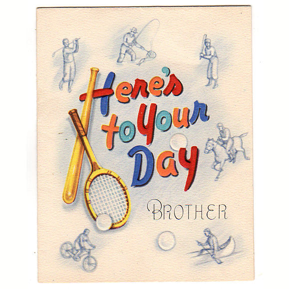 Vintage 1950s Sports Themed Birthday Greeting Card For Brother