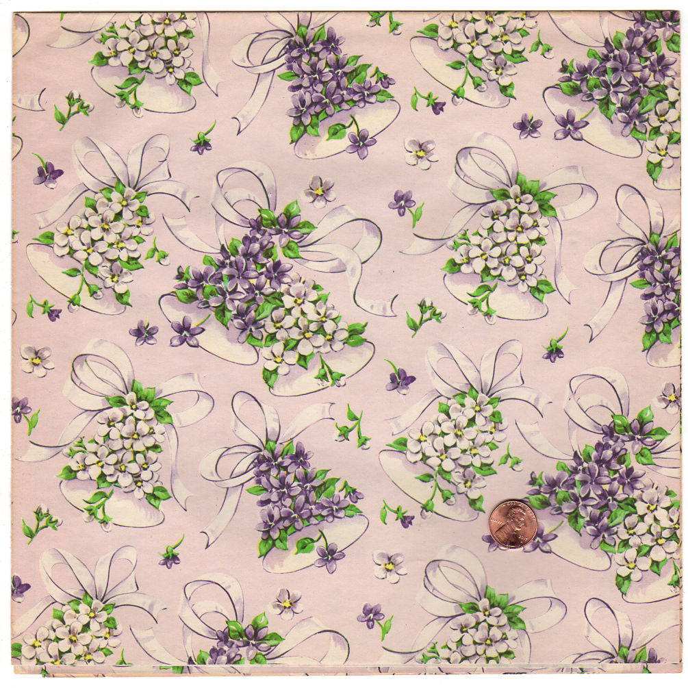 vintage 1950s wedding wrapping paper sheet bells ribbon purple violets