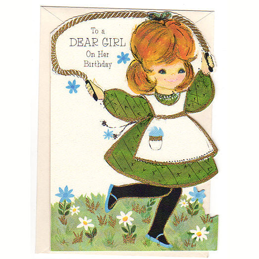 Little Girl Jumping Rope Vintage 1960s Hallmark Birthday Greeting Card Unused
