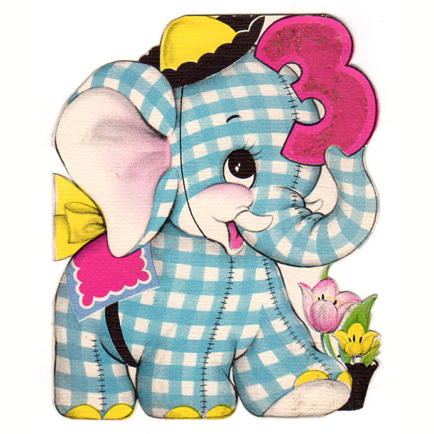 Vintage 3 Year Old Childrens Birthday Card 1950s Greeting Blue Plaid Elephant Used